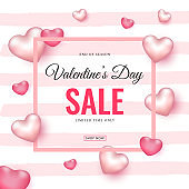 Valentine's Day Sale Poster Design Decorated with Glossy Pink Hearts on Strip Background for Advertising Concept.