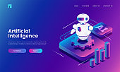 Isometric illustration of Android robot with cog wheel and bar graph for Artificial Intelligence concept.