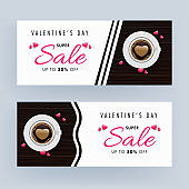 Super Sale Header or Banner Design Set with Top View Latte Art Love Coffee Cup and Pink Hearts on White and Brown Wooden Background for Valentine's Day.