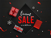 Up To 60% off for Christmas Sale banner or poster design with top view of gift boxes.