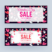 Purple Header or Banner Design Decorated with Scribble Style Hearts and 50% Discount Offer for Valentine's Day Sale.