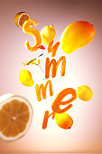 3D render of Summer text with elements such as cocktail, mango and lemon on shiny background. Can be used as template or flyer design.