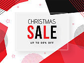 Up To 50% off for Christmas Sale banner or poster design with abstract elements.
