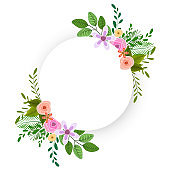 Circular frame decorated with beautiful flowers with space for your text.
