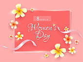 8 March, Women's Day banner or greeting card design decorated with flowers.