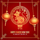 Red Seamless Squama Pattern Background Decorated with hanging Golden Rat Zodiac Sign and Lanterns for Year Of The Rat, Happy Chinese New Year Celebration.