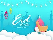 Eid-Al-Adha Mubarak festival celebration poster or banner design with cartoon character of islamic man and goat in front of mosque silhouette.