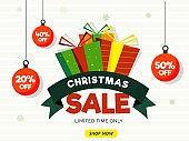 Christmas Sale banner or poster design with different discount offers and gift boxes on white background.