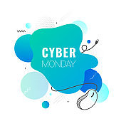 Cyber Monday text with creative wired mouse illustration on abstract background can be used as poster or template design.