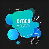 Cyber Monday text with wired mouse illustration on abstract background can be used as poster or template design.