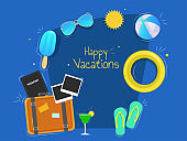 Happy Vacation banner or poster design with summer elements such as travel briefcase, goggles, flip-flop, swimming ring and beach ball on blue background.