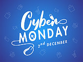 Cyber Monday text with wired mouse on blue shopping pattern background for 2nd December Sale.