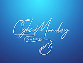 Stylish text Cyber Monday Coming with wired mouse on blue background can be used as banner or poster design.