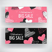 Pink and Black Big Sale Header or Banner Design Decorated with Scribble Style Hearts Shape for Valentine's Day.