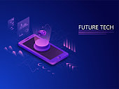 3D illustration of Bitcoin Server on Smartphone Display and Infographic Multiple Screen on Circuit Blue Background for Future Technology Concept.