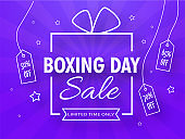 Boxing Day Sale text in creative gift box with hanging tag of different discount offer on purple rays background for Advertising.