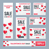 Set of valentine's day sale banner or poster design with 50% discount offer and paper heart shape balloons.