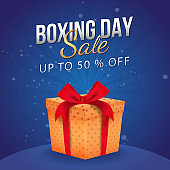Up To 50% Off for Boxing Day Sale, advertising poster design with gift box.