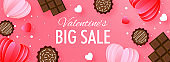 Big Sale Header or Banner Design with Chocolate and Paper Cut Hearts Decorated on Pink Background for Valentine's Day.