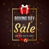 Boxing Day Sale poster design with 50% discount offer, baubles and gift box on brown bokeh background.