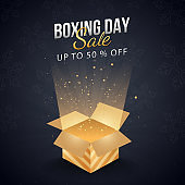 Up To 50% Off for Boxing Day Sale poster design with magic gift box.