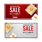 Set of Boxing Day Sale banner design with 50% discount offer and top view of gift boxes decorated on background.
