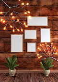 Modern bright interior. 3D Render of tree lighting, plant and different shape of frame on brick wall texture background.
