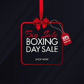 Big Sale poster design with 60% discount offer on black overlapping paper background for Boxing Day.