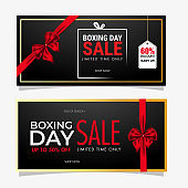 Set of Boxing Day Sale banner design covering with red ribbon and different discount offer on black background.