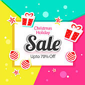 Sale poster or template design with sticker style gift boxes, baubles, stars and 70% discount offer on colorful abstract background for Christmas Holiday.