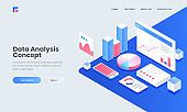 Analyst or developer workplace, isometric illustration of smartphone with infographic elements for Data Analysis and Management concept.