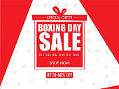 Boxing Day Sale poster design with 60% discount offer on red and white shopping element background.