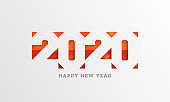 Paper cut style 2020 text on white background for Happy New Year greeting card design.