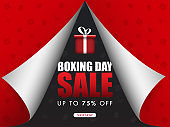 Red paper curl style poster design with 75% discount offer and shopping element pattern for Boxing Day Sale.
