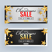 Black and White Sale Header or Banner Design Decorated with Golden Stars and 50% Discount Offer for Merry Christmas Celebration.