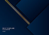 Abstract template dark blue background geometric shape with gold lines and space for your text.