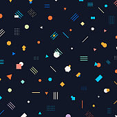 Abstract different geometric shapes pattern circles, triangles, lines, squares, hexagons bright and colorful color on dark background.