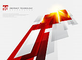 Abstract perspective technology geometric red color shiny motion background and lines texture with lighting burst effect.  for brochure, print, ad, magazine, poster, website, magazine, leaflet, annual report