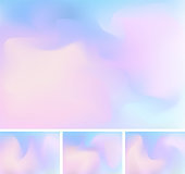 Set of abstract fluid or liquid gradient blue and pink mesh background. Stylish holographic backdrop with mesh 90s, 80s retro style. You can use for template for brochure, flyer, poster design, wallpaper, leaflet, mobile screen, etc.