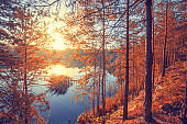 Autumn landscape. Rocky lakeshore at sunrise. Beautiful nature of Norway