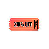 Red 20% Off Ticket Icon