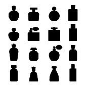 Vector Perfume silhouette icons set in flat style isolated on white background.