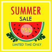 Summer sale Vector illustration. Summer sale with watermelon on yellow background.