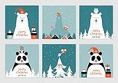Set of Christmas cards with polar bears, pandas, birds and owls. Merry Christmas cards.