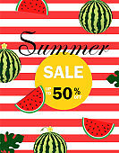 Summer sale Vector illustration. Summer sale with watermelon on red stripe background.