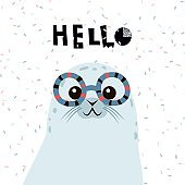 Cute cartoon seal with lettering . Childish print for nursery, kids apparel,poster, postcard. Vector Illustration