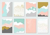 Abstract background template set with geometric shapes in pastel. Vector background - Vector