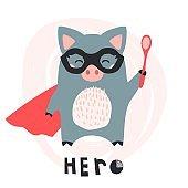 Cute hand drawn piglet hero with a spoon. Cartoon super hero piglet vector illustration - Vector
