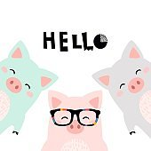 Greeting card with cute piglet. Kid print with lettering - HELLO. Vector illustration. - Vector