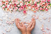 Woman's hand holding beautiful bunch of rose petals over textured background